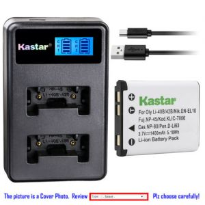 Replacement Battery LCD Dual Charger for Casio NP-80 BC-81L and Casio Exilim QV-R70