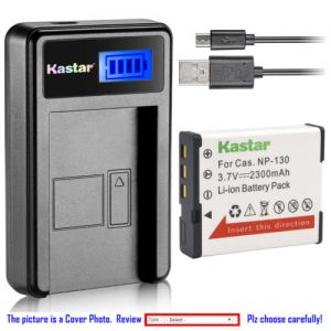 Replacement Battery LCD Charger for Casio NP-130 NP130 Casio Exilim EX-ZR1800 Camera