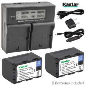 Battery, Charger for JVC SSL-JVC50 and JVC GY-HMQ10, GY-LS300, GY-HM200 Camcorder