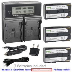 Replacement Battery LCD Dual Fast Charger for Canon BP-911 and Canon ES60, ES6000, ES65