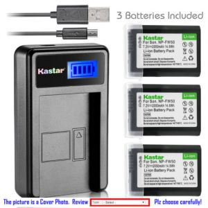 Replacement Battery LCD Charger for Sony NP-FW50 BCTRW and Sony Cyber-shot DSC-RX10M4