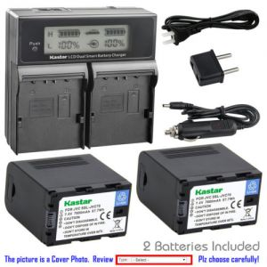 Replacement Battery LCD Dual Fast Charger for JVC SSL-JVC70 and JVC GY-HM660U Camcorder