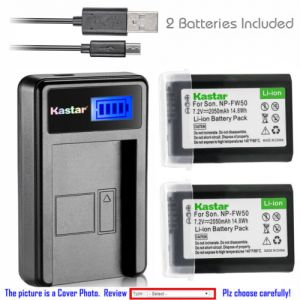 Replacement Battery LCD Charger for Sony NP-FW50 W Series and Sony ILCE-7 Alpha 7 a7