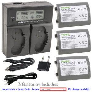 Replacement Battery LCD Dual Fast Charger for Nikon EN-EL18 and Nikon D4S Digital SLR