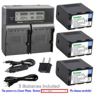 Replacement Battery LCD Dual Fast Charger for JVC SSL-JVC70 JVC GY-LS300CHU Camcorder