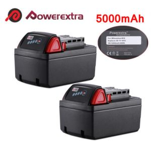 2 Pack Red Lithium XC 5000mAh Battery For Milwaukee M18 48-11-1850 48-11-1840