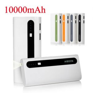 10000mAh Dual USB Portable Power Bank External Battery Charger W/ LED Flashlight