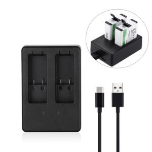 Dual Battery Charger for GoPro HERO5 HERO 5 AHDBT-501 Black w/ USB Type C Cable