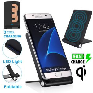 3 Coils Qi Wireless Charging Pad Charger Stand Foldable for Samsung Galaxy S7 S8