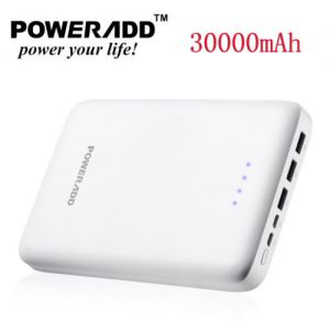 poweradd 30000mAh 3 USB Fast Charger Power Bank External Battery for Cell Phone