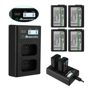 NP-FW50 Battery for Sony Alpha A6500 A6300 A6000 A7r A7 + Dual USB LED Charger