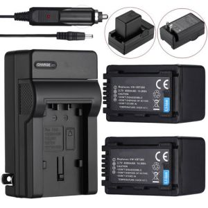 4000mAh VW-VBT380 Battery & Charger for Panasonic VW-VBT190 HC-V550 V710 HC-W858