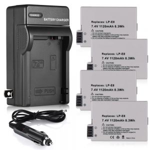 LP-E8 Battery & Charger for Canon Rebel T2i T3i T4i T5i Kiss X4 X5 EOS 550D 700D