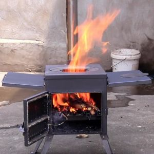 Portable Outdoor Camping Wood Burning Stove Tent Heater Durable Heavy Duty Firebox